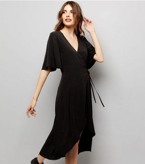 Black Wrap Front Midi Dress | New Look