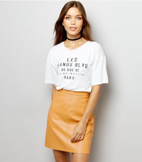 Tall Yellow Leather-Look Mini Skirt | New Look