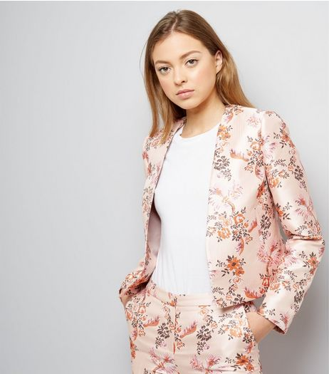 Pink Satin Floral Bird Jacquard Jacket | New Look