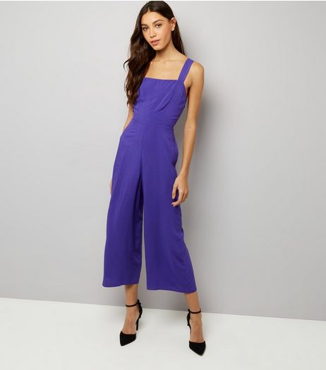 Dark Purple Tie Back Jumpsuit  | New Look