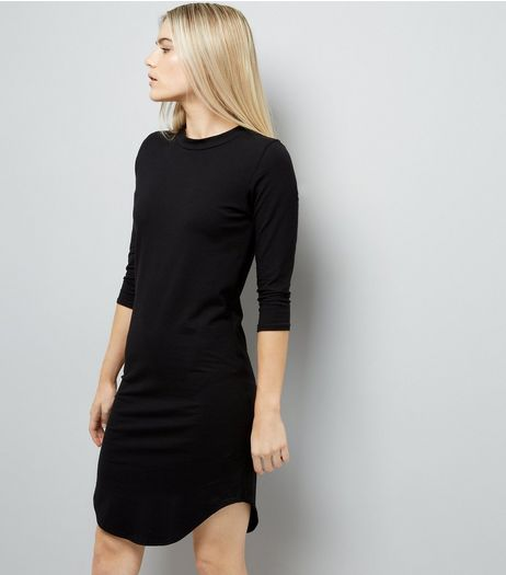 Black 3/4 Sleeve Curved Hem Dress | New Look