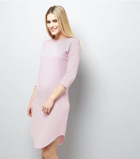 Lilac 3/4 Sleeve Curved Hem Dress  | New Look