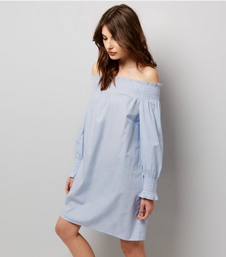 Pale Blue Shirred Bardot Neck Dress | New Look