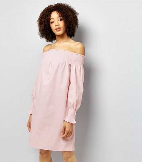 Mid Pink Shirred Bardot Neck Dress  | New Look
