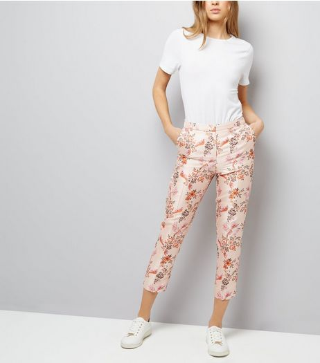 Pink Satin Floral Bird Jacquard Trousers | New Look