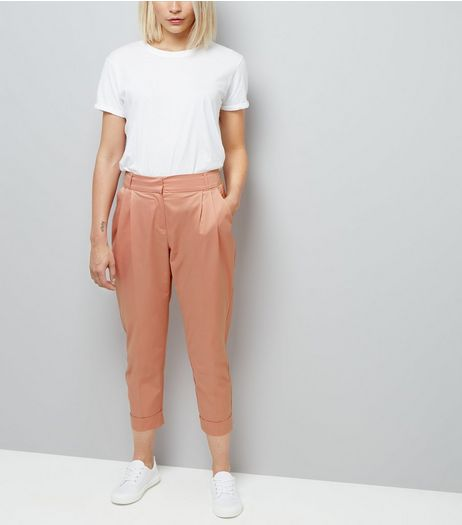 Pink Sateen Turn Up Trousers | New Look