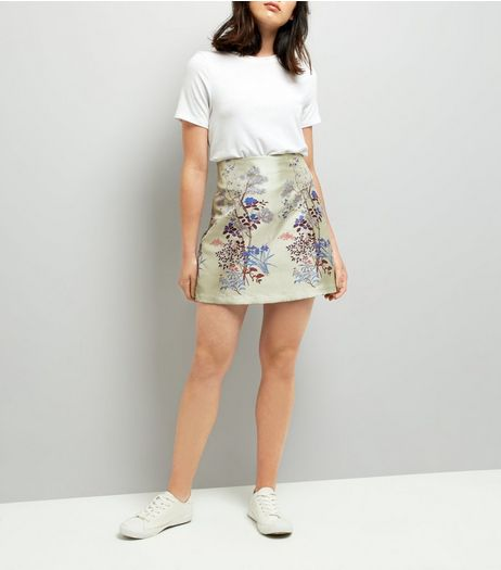 Mint Green Sateen Floral Jacquard Skirt | New Look