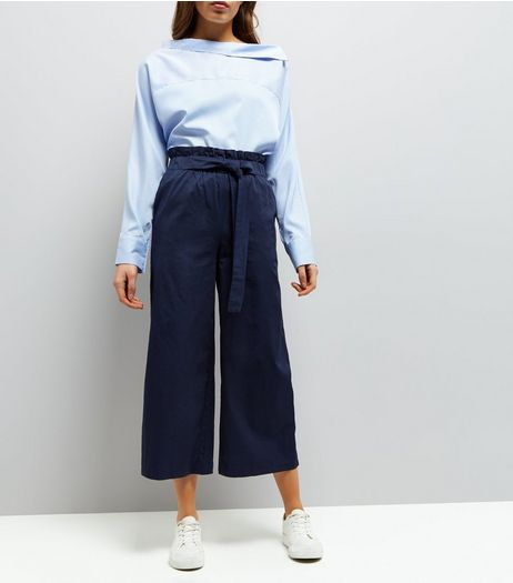 Navy Tie Waist Cropped Trousers  | New Look