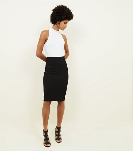 Black Textured Pencil Skirt | New Look