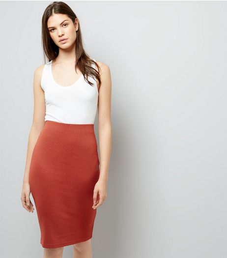 Brown Textured Pencil Skirt | New Look