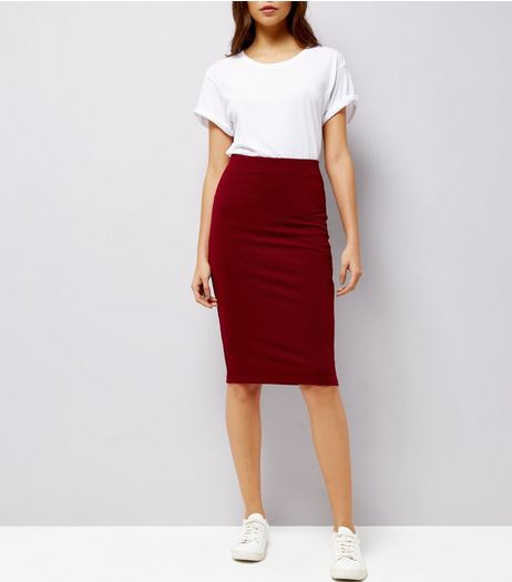Burgundy Textured Pencil Skirt | New Look