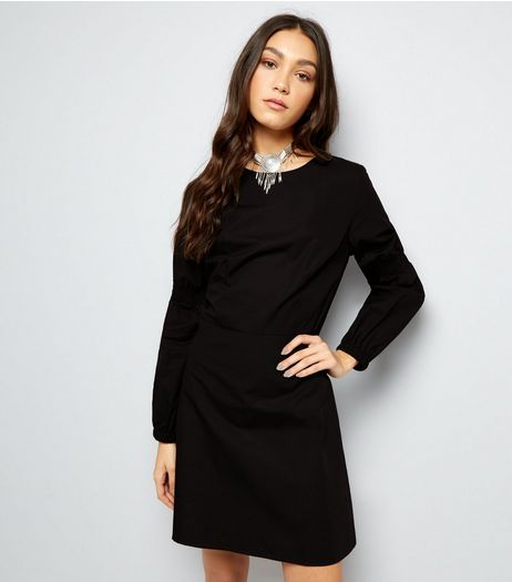 Black Balloon Sleeve Dress  | New Look