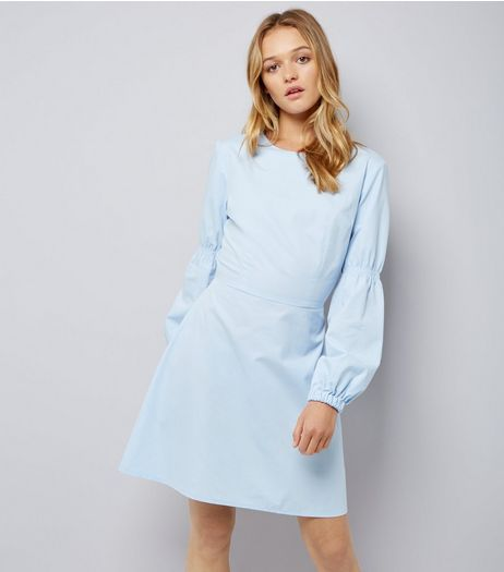 Pale Blue Balloon Sleeve Dress | New Look