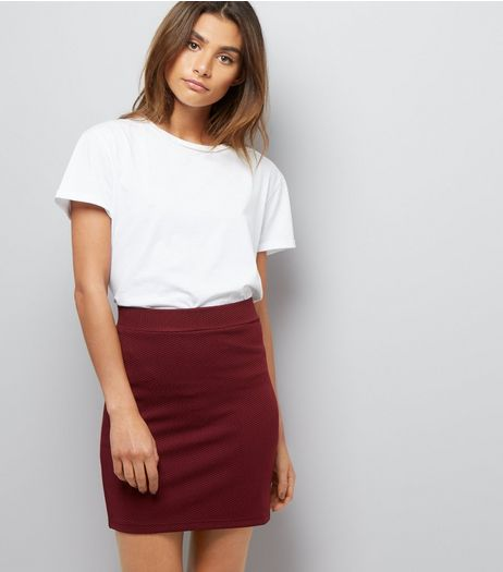 Burgundy Textured Mini Tube Skirt  | New Look