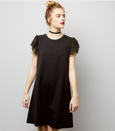 Black Tulle Sleeve T-Shirt Dress | New Look