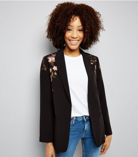 Black Floral Embroidered Blazer  | New Look