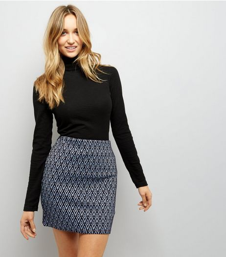 Blue Diamond Pattern Jersey Mini Skirt | New Look