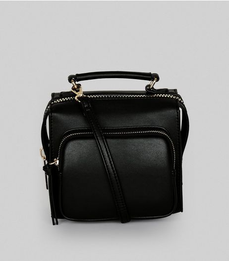 Black Chunky Zip Pocket Cross Body Bag | New Look