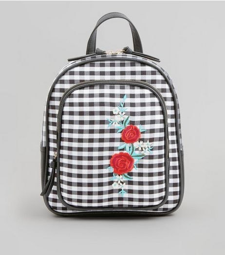 Black Gingham Floral Embroidered Badge Backpack | New Look