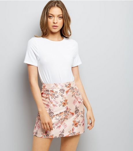 Shell Pink Floral Jacquard A-Line Skirt | New Look