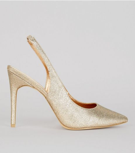 Wide Fit Gold Glitter Pointed Sling Back Heels | New Look