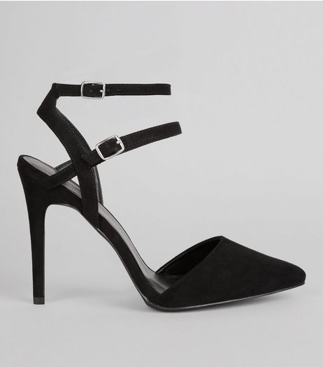 Wide Fit Black Suedette Double Strap Pointed Heels | New Look