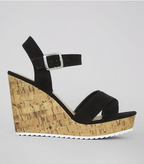 Wide Fit Black Suedette Sporty Wedge Heels | New Look