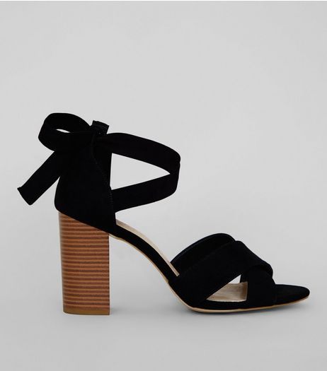 Wide Fit Black Comfort Suedette Ankle Tie Block Heels | New Look
