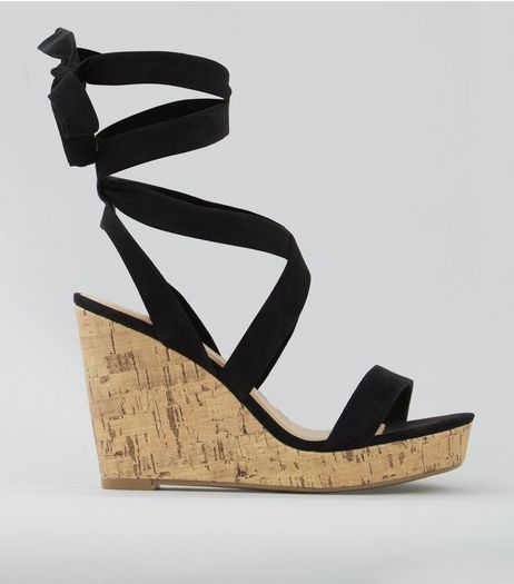 Wide Fit Black Ankle Tie Heeled Wedge Sandals | New Look