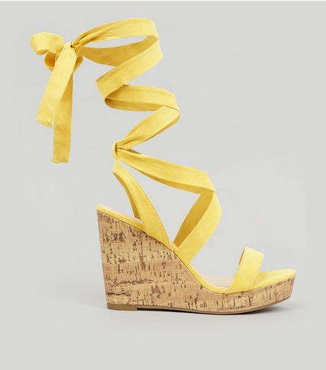Wide Fit Yellow Ankle Tie Heeled Wedge Sandals | New Look