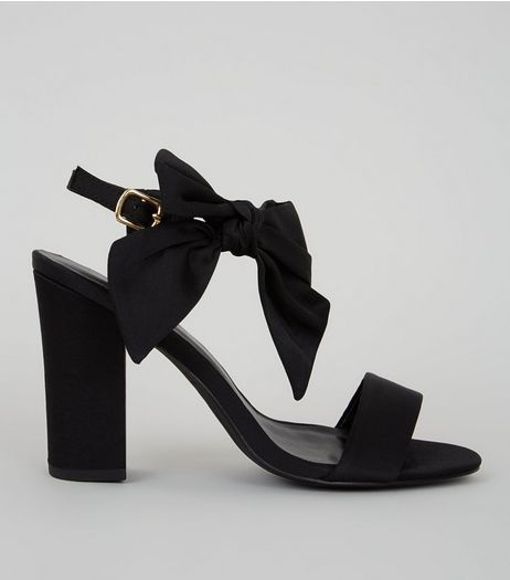 Black Satin Bow Side Heeled Sandals | New Look