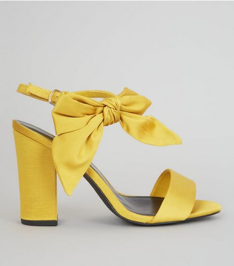 Yellow Satin Bow Side Heeled Sandals | New Look