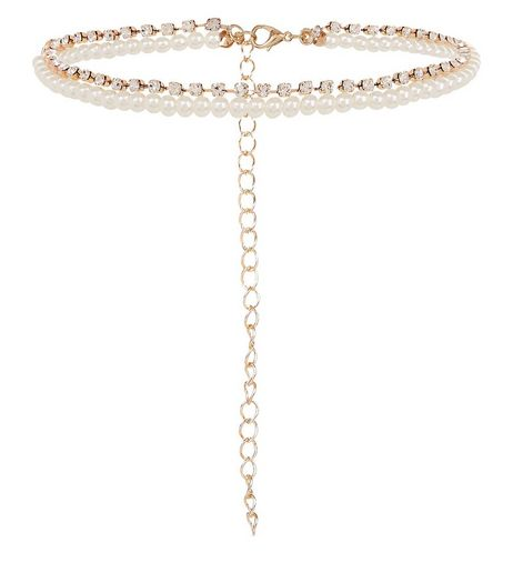 Gold Pearl and Diamante Layered Anklet | New Look