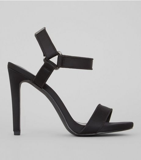 Black Satin Velcro Strap Heeled Sandals | New Look