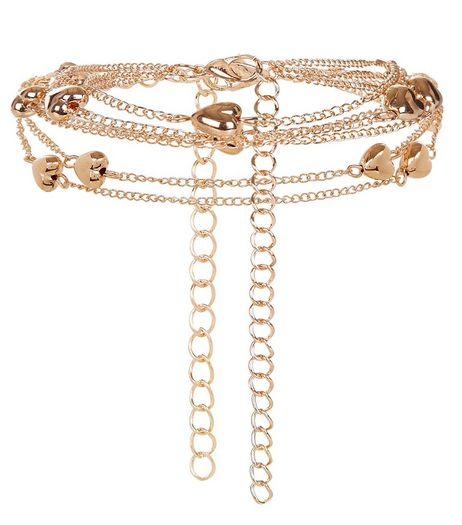 Gold Heart Chain Layered Anklet | New Look