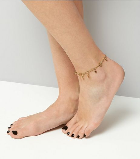 Gold Flower Charm Anklet | New Look