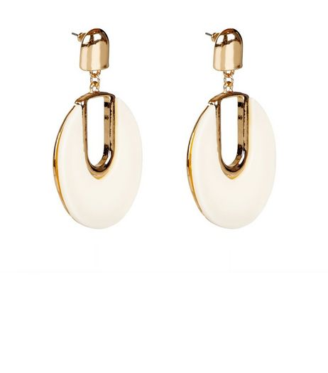Cream Circle Drop Earrings | New Look