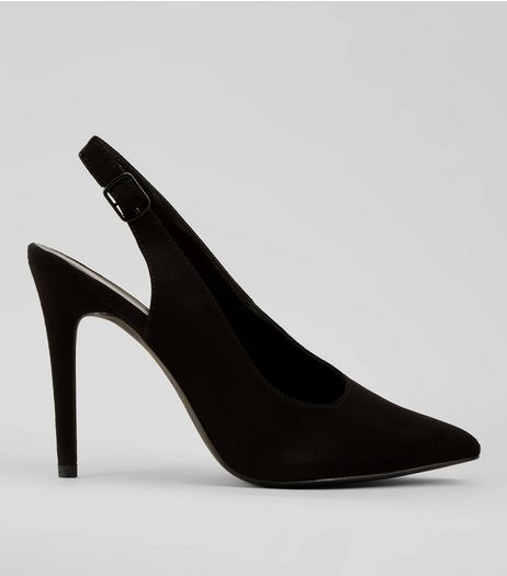 Black Suedette Pointed Sling Back Heels | New Look