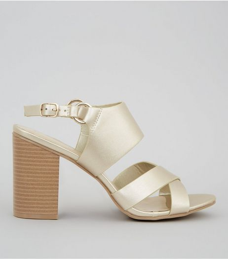 Gold Cross Strap Sling Back Heels | New Look