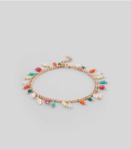 Gold Bead Charm Anklet | New Look