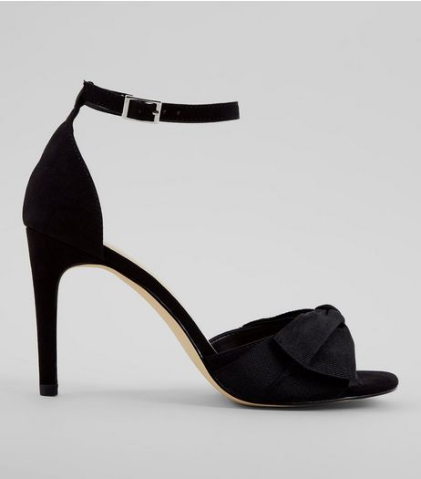 Black Suedette Bow Heeled Sandals | New Look