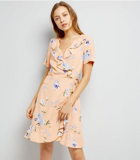 Pink Floral Print Frill Trim Wrap Dress | New Look