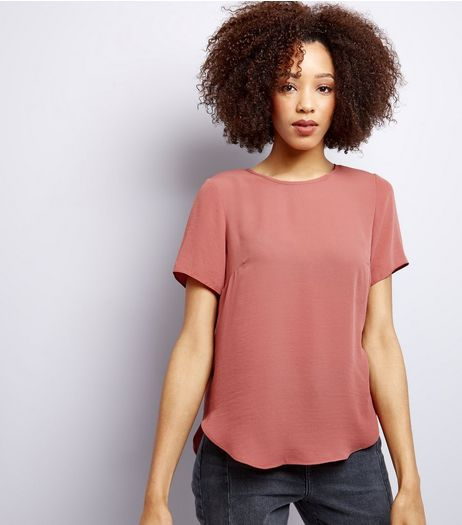 Pink Split Back Short Sleeve Top | New Look
