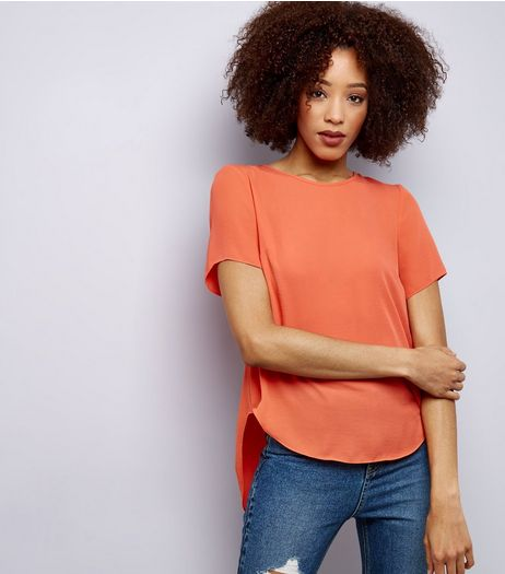 Coral Split Back Short Sleeve T-Shirt  | New Look