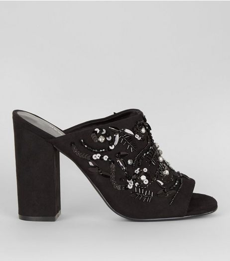 Black Suedette Embellished Block Heeled Mules  | New Look