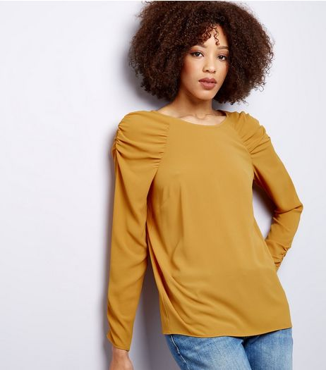 Yellow Gathered Shoulder Long Sleeve Top | New Look