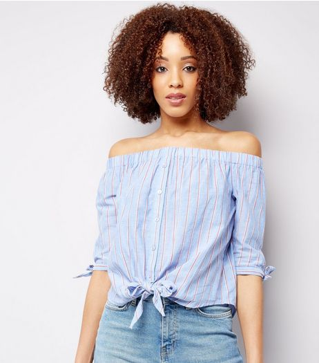 Blue Stripe Button Front Bardot Neck Top | New Look