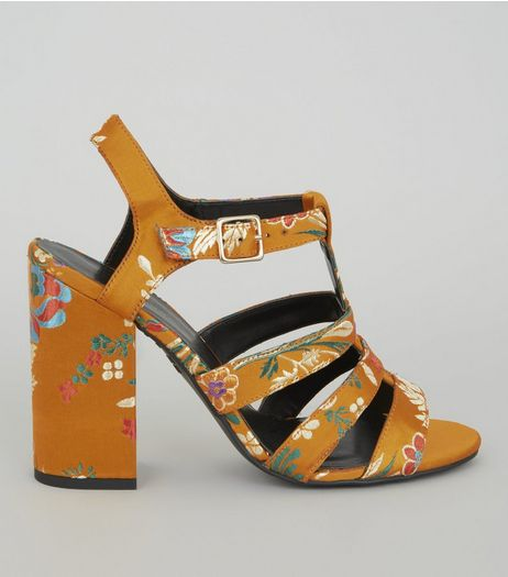 Yellow Sateen Floral Brocade Gladiator Block Heels | New Look