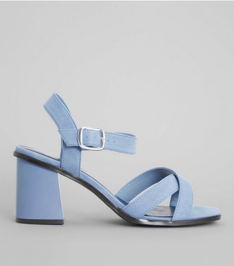 Wide Fit Blue Suedette Square Toe Block Heels | New Look