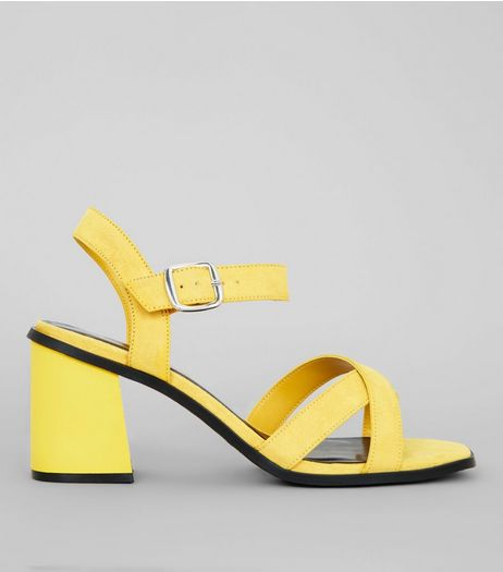 Wide Fit Yellow Suedette Square Toe Block Heels | New Look